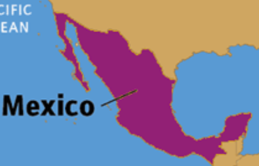 The shape of Mexico is displayed and labeled with the country name. A small piece of the countries bordering Mexico to the north and south are visible but mostly clipped out of the image.
