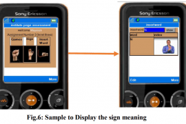 """Two images of a smartphone screen is shown. On the left, the screen shows hands that show the first few letters of the English alphabet in finger spelling. At the right, the phone screen shows the image of a person signing. An arrow is drawn pointing from the first phone screen to the second. At bottom it says """"Fig 6: Sample to display the sign meaning""""."""