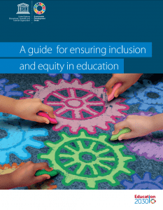 "Image show the cover of ""A guide for ensuring inclusion and equity in education"". Below the title is a photograph of four small hands, each holding a different color chalk, drawing abstract wheel-like shapes."