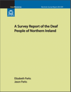 "Cover of a report entitled ""A Survey Report of the Deaf People of Northern Ireland"""