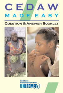 "Cover of publication entitled ""CEDAW Made Easy: Question & Answer Booklet"""