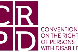 Logo for the Convention on the Rights of Persons with Disabilities (CRPD) shows each letter of the acronym in its own square to the left of the full name of the treaty.