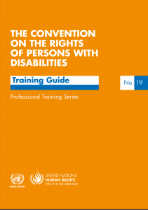 "Cover for the manual entitled ""The Convention on the Rights of Persons with Disabilities: Training Guide"", Number 19 in the Professional Training Series. At the bottom is the logo of the Office of the High Commissioner on Human Rights (OHCHR)."