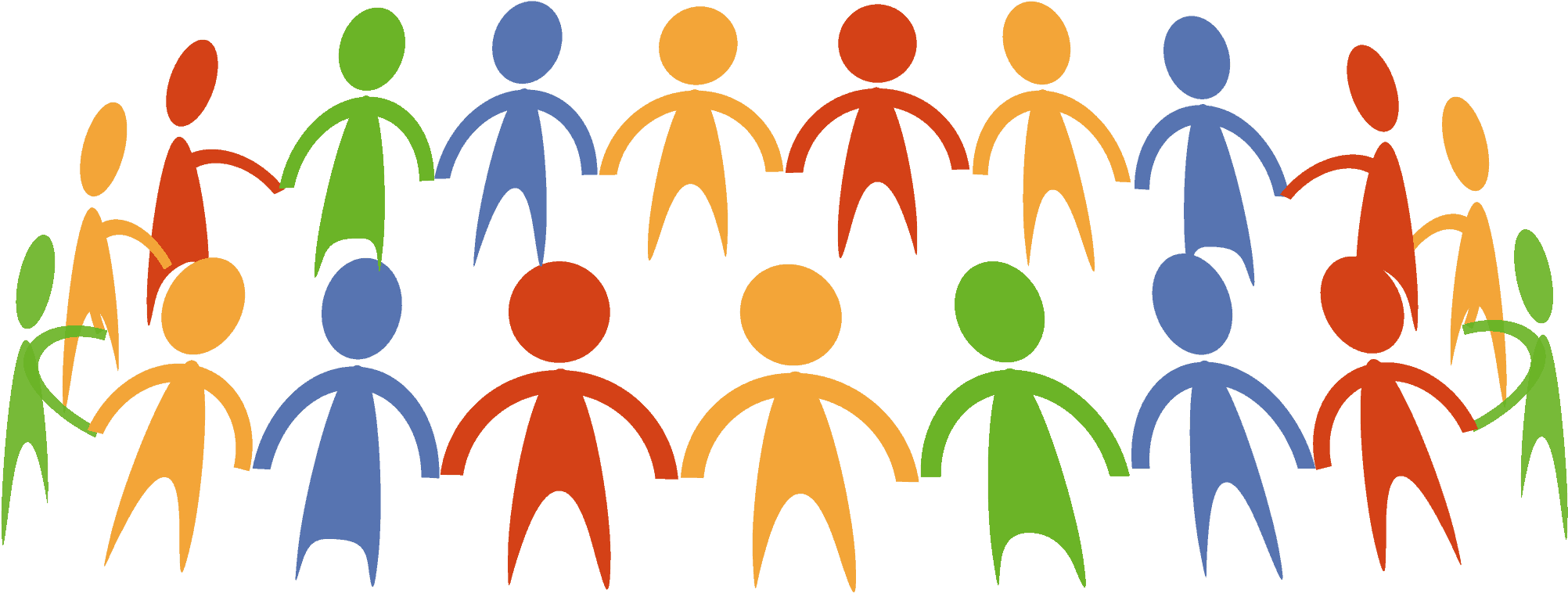 Abstract drawing of a large group of people in a circle holding hands.