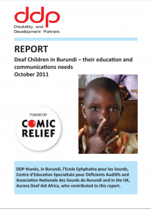 """Cover of the report """"Deaf Children in Burundi--their education and communication needs"""". Below the title is a photo of a young child looking at the camera."""
