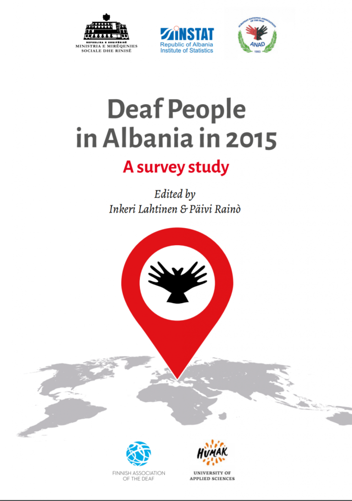 """Cover for the publication """"Deaf People in Albania in 2015: A Survey Study"""""""