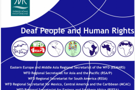 "Cover of the report ""Deaf People and Human Rights"" by Hilde Haualand and Colin Allen in January 2009."