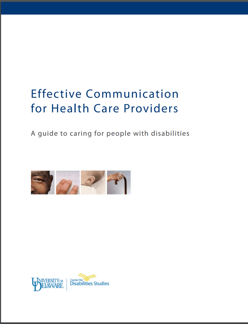 """Cover of publication """"Effective Communication for Health Care Providers: A guide to caring for people with disabilities"""""""