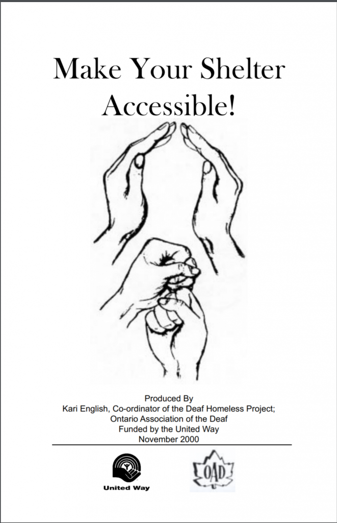 """Cover of the publication entitled """"Make Your Shelter Accessible!"""" Below the title, black and white drawings show hands forming the signs for """"shelter"""" and """"support""""."""