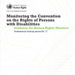 """Cover for publication on monitoring CRPD implementation, entitled """"Monitoring the Convention on the Rights of Persons with Disabilities: Guidance for Human rights Monitors"""". The United Nations logo is in the bottom right corner of the cover."""