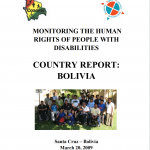 """Cover of publication entitled """"Monitoring the Human Rights of People with Disabilities: Country Report: Bolivia"""""""