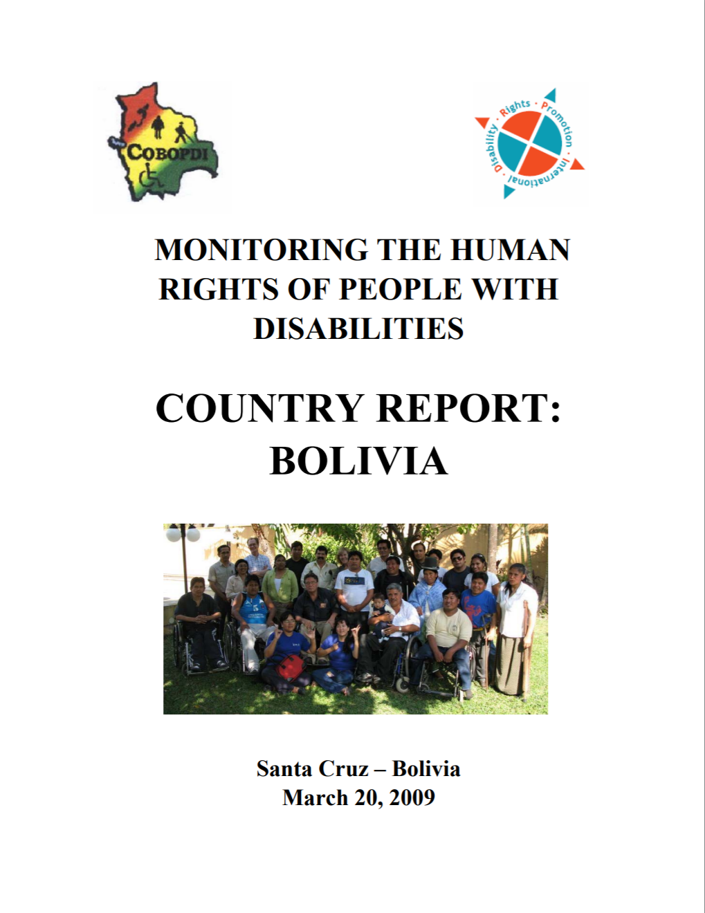 "Cover of publication entitled ""Monitoring the Human Rights of People with Disabilities: Country Report: Bolivia"""