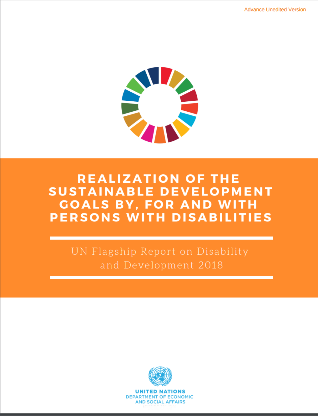 """Cover of the report """"UN Flagship Report on Disability and Development 2018: Realization of the Sustainable Development Goals by, for and with Persons with Disabilities"""""""