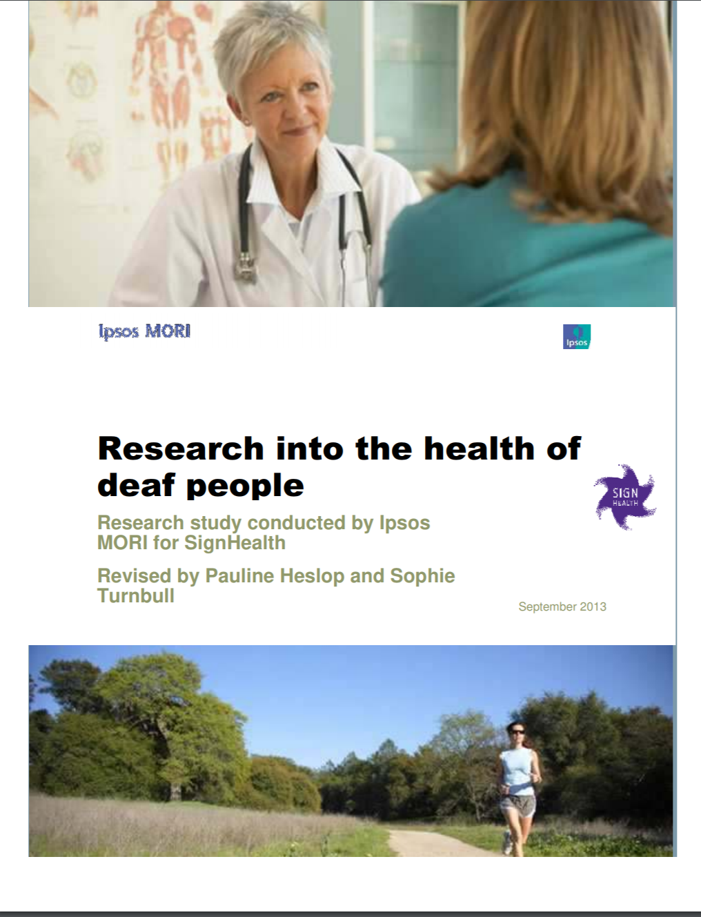"""Cover of the report entitled """"Research into the health of deaf people"""". One picture above the title shows a doctor meeting with a patient. The other picture, below the title, shows a person outside jogging."""