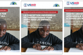 """Screenshots for three copies of the toolkit, """"Universal Design for Learning to Help All Children Read: Promoting Literacy for Learners with Disabilities"""", in English, French, and Spanish."""