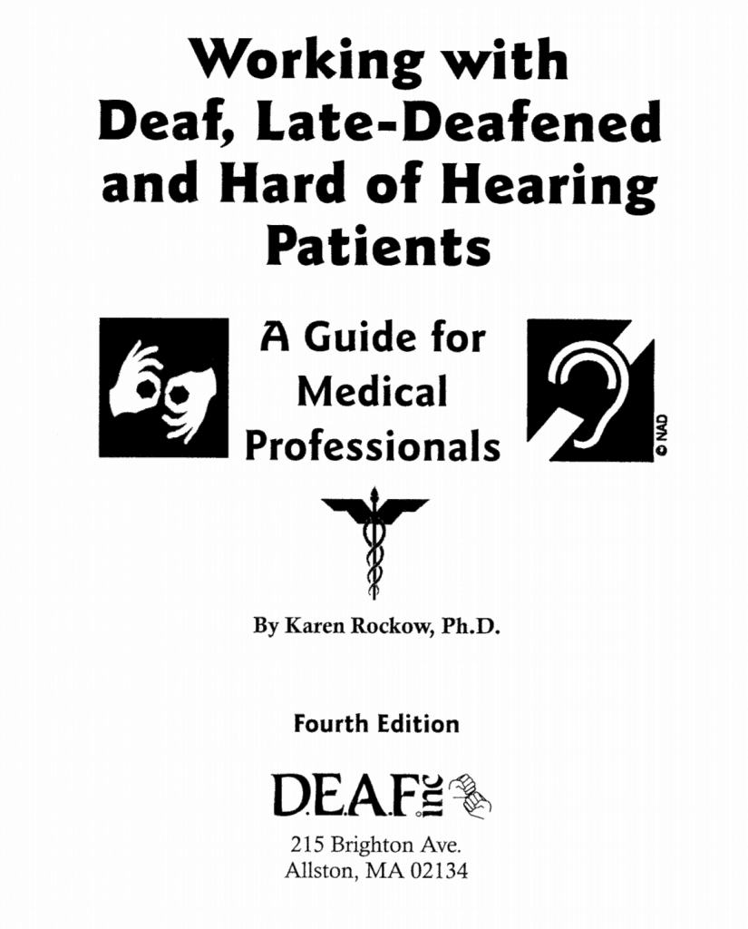 """Cover of publication """"Working with Deaf, Late-Deafened and Hard of Hearing Patients"""""""