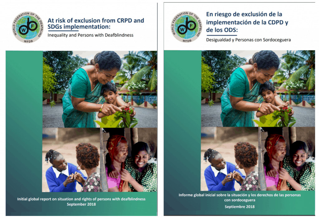 "Cover of the publication ""At risk of exclusion from CRPD and SDGs implementation: Inequality and persons with deafblindness"" in both English (left) and Spanish (right)."