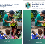 """Cover of the publication """"At risk of exclusion from CRPD and SDGs implementation: Inequality and persons with deafblindness"""" in both English (left) and Spanish (right)."""