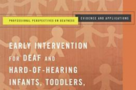 """This screenshot shows the cover of the book entitled """"Early Intervention for deaf and hard of hearing infants, toddlers, and their families"""" edited by Marilyn Sass-Lehrer. The background of the cover shows abstract drawings of adults and children."""