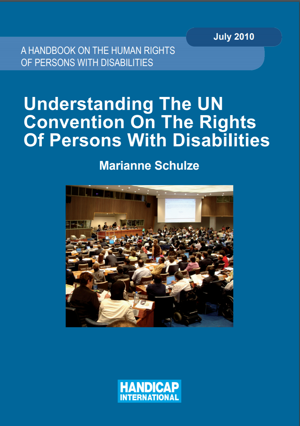 "Cover for CRPD handbook entitled ""A Handbook on the Human Rights of Persons with Disabilities: Understanding the UN Convention on the Rights of Persons with Disabilities"""