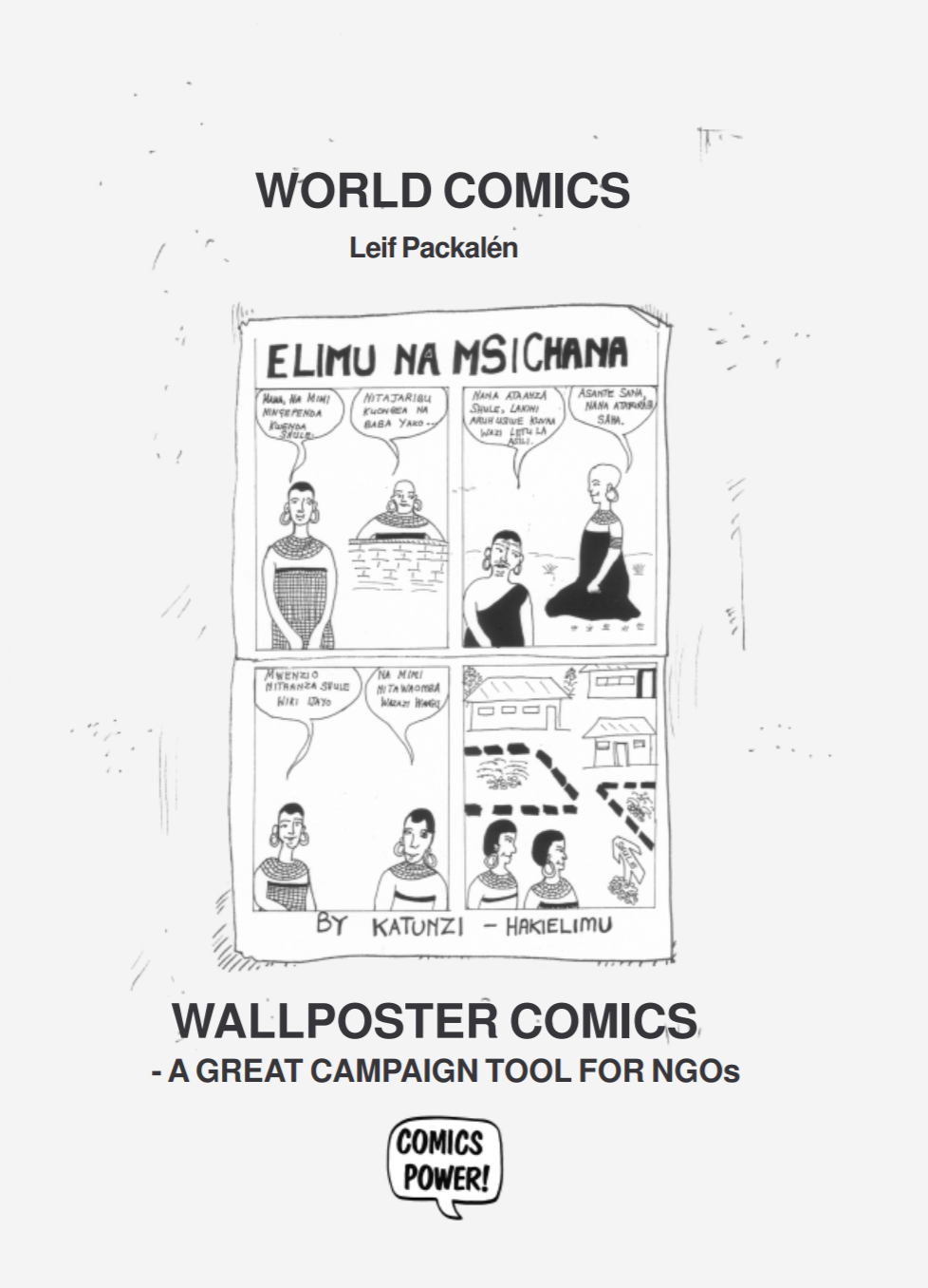 """Cover for the publication entitled """"Wallposter Comics: A Great Campaign Tool for NGOs"""". A sample of a black and white comic with four panels is on the cover."""