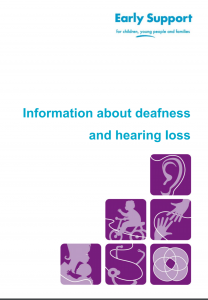 "Cover of manual entitled ""Early support for children, young people, and families: Information about deafness and hearing loss"". Below the title are six purple squares stacked on top of each other. Each square shows an abstract drawing. The top square shows an ear, the next two show a child on a bike and two hands reaching to each other, the bottom three squares show a parent with a child, and two abstract line drawings."