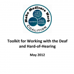 """Cover for """"Toolkit for Working with the Deaf and Hard-of-Hearing"""" on communicating with deaf clients"""