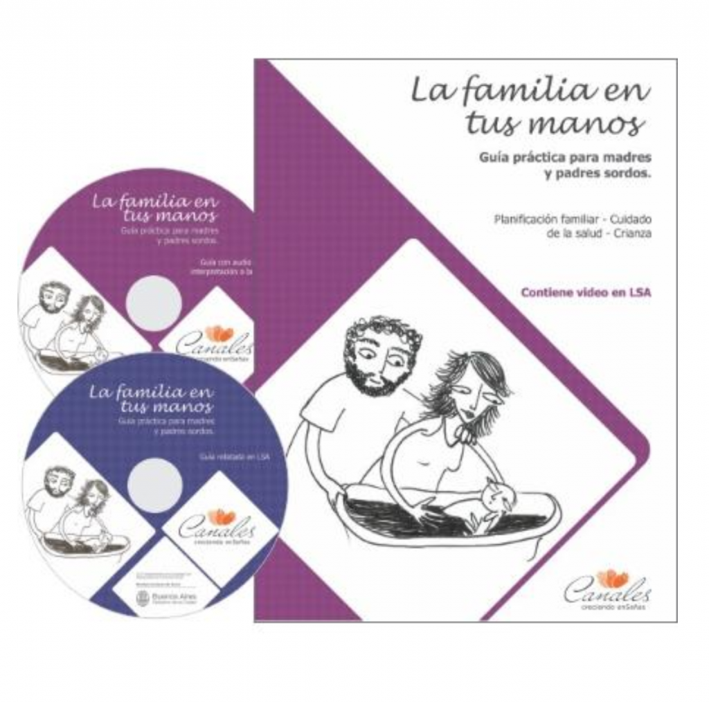 "Screenshot shows the cover of a book, and two accompanying DVDs, entitled ""La familia en tus manos"". On the cover, a simple black and white line drawing shows a mother and father laying a baby down to sleep."