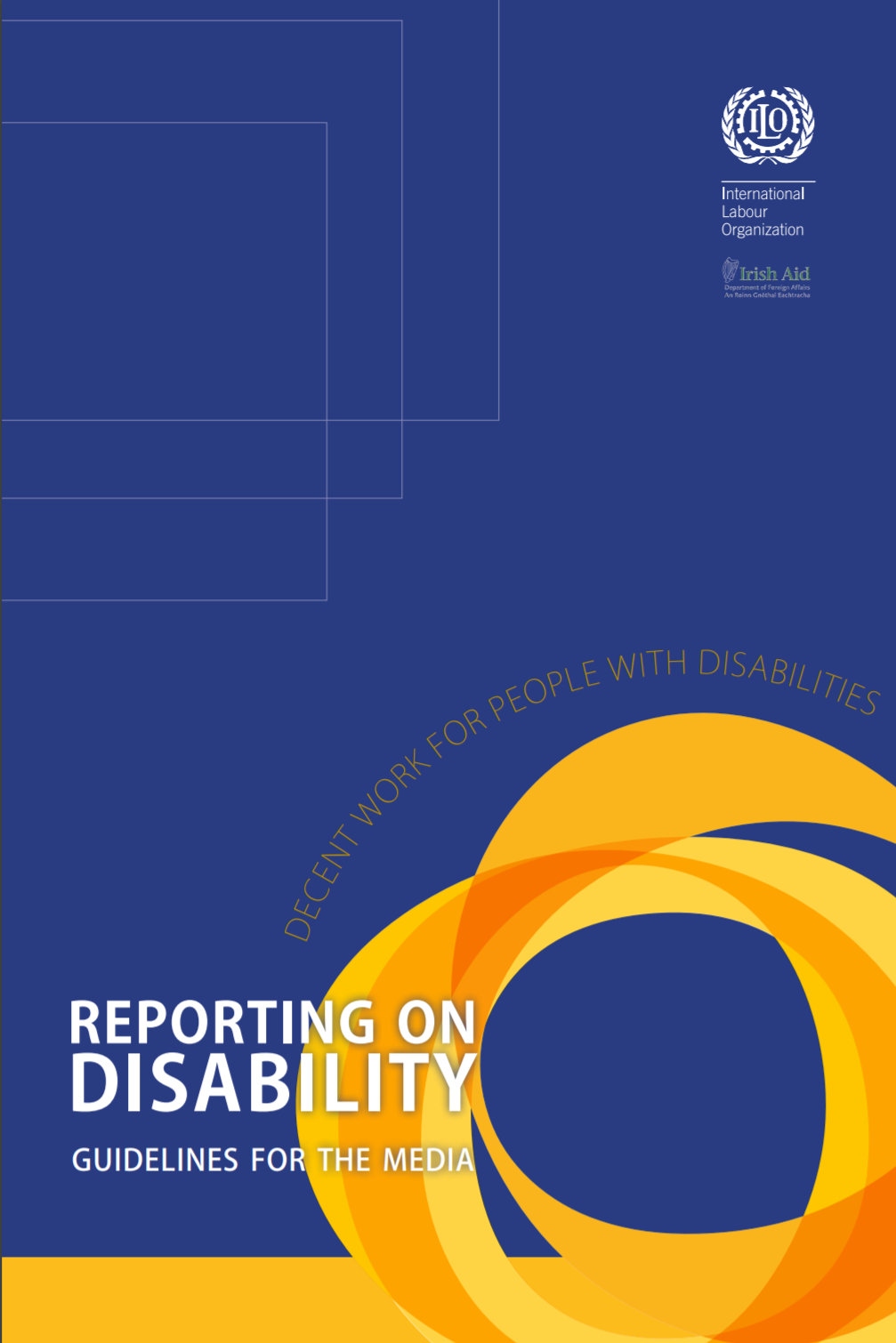 """Cover for the publication entitled """"Reporting on Disability: Guide for Media""""."""