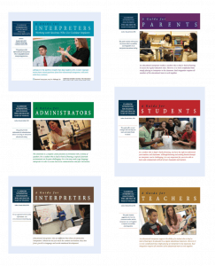 Image shows the covers for six guides on sign language interpreting in the classroom.