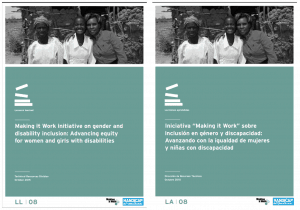 "Two copies of the same publication, one in English and the other in Spanish. The title is ""Making it Work initiative on gender and disability inclusion: Advancing equity for women and girls with disabilities"""