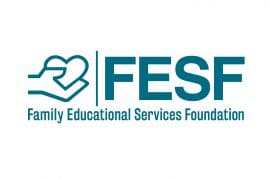 Logo for Family Educational Services Foundation. Shows the full name of the organization at the bottom. Above it is a drawing of a hand holding a heart and the acronym FESF.