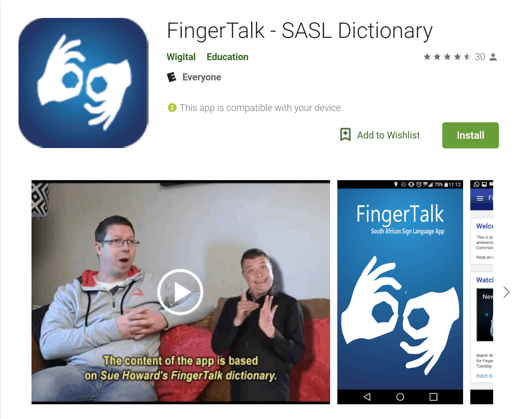 Screenshot that shows the FingerTalk SASL Dictionary in Google Play. The logo shows the white silhouette of two hands signing against a blue background. Below the name of the app and its logo is a video frozen to show two people seated on a couch, one talking and the other signing.