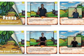 "Image shows screen shots of the cover and the first two pages of the digital storybook ""The Giant Turnip"" in both Russian and English. The first two pages of the story book show videos that translate the English or Russian text into American Sign Language or Russian Sign Language."