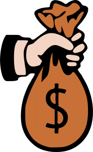 A drawing of a hand holding a large bag filled with money.