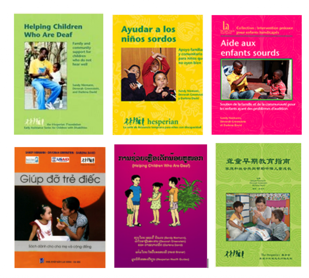 """The cover of six copies of the same book, """"Helping Children Who Are Deaf"""" in English, Spanish, French, Vietnamese, Lao, and Chinese. Each translation uses a different photo or drawing as the main image on the cover."""