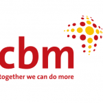 """Logo for the Christian Blind Mission shows the acronym cbm in lower case letters. Red and yellow dots to the right and above the acronym are organized to resemble the cross. The slogan """"together we can do more"""" is below the acronym."""