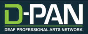 "The logo for D-PAN has the acronym on top and the full name of the organization ""Deaf Professional Arts Network"" below it."