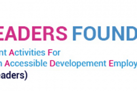 """Logo for the Deaf Leaders Foundation in India. The acronym DEAF LEADERS stands for: """"Deaf Empowerment Activities For Literacy Education Accessible Development Employment Rehabilitation and Sports"""""""