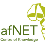 """Logo for DeafNET. To the right of the organization name is a drawing of the African continent with green criss crossing lines. Below the organization name is the motto, """"Centre of Knowledge""""."""