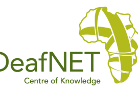 "Logo for DeafNET. To the right of the organization name is a drawing of the African continent with green criss crossing lines. Below the organization name is the motto, ""Centre of Knowledge""."