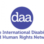 """Logo for Disability Awareness in Action shows the acronym DAA inside a circle, and its motto """"The International Disability and Human Rights Network"""""""