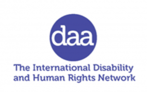 "Logo for Disability Awareness in Action shows the acronym DAA inside a circle, and its motto ""The International Disability and Human Rights Network"""