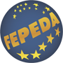 Logo for European Federation of Parents of Hearing Impaired Children shows acronym (FEPEDA) inside a globe with stars on it.
