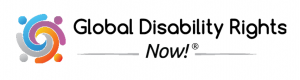 Logo for the Global Disability Rights Now! website. To the left of the website name are colored lines swirling around each other.