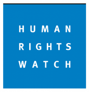 Logo for the Human Rights Watch has the name of the organization in white text on blue back ground.