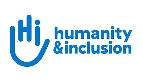 Logo for the organization humanity & inclusion. To the left of the organization name is a line drawing of a hand that uses the letters of the acronym, Hi, to represent the middle three fingers of a hand. Another line curves below to show the shape of a hand's palm, then comes up to represent the thumb and smallest finger on a hand.