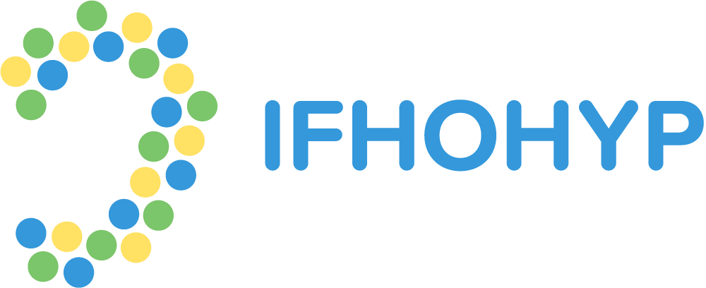 Logo for the International Federation of Hard of Hearing Young People (IFHOHYP) for hard of hearing youth. To the left of the acronym is a collection of colored dots arrayed to form an outline of the outside of an ear.