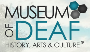 Logo for the Museum of Deaf History, Arts & Culture. To the upper right of the name are three octangular shapes clustered together.