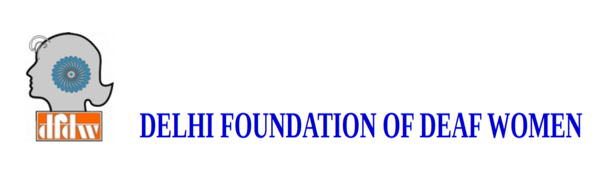 The logo for the Delhi Foundation of Deaf Women shows the shape of a woman's head with the acronym DFDW.